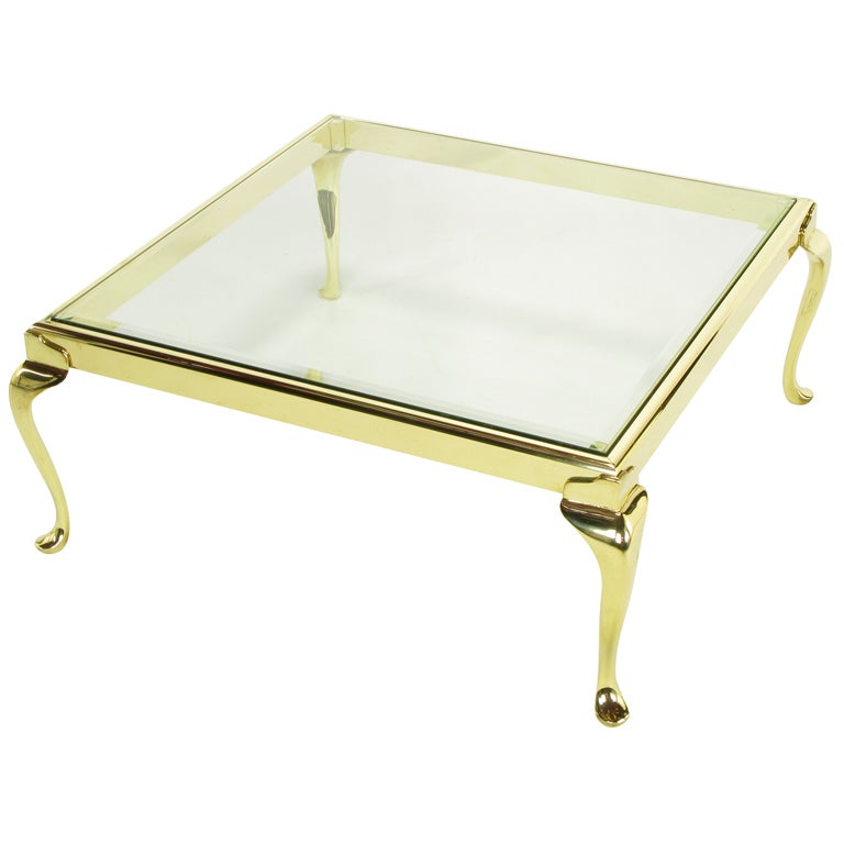 Square Solid Brass Cabriole Leg Coffee Table For Sale At