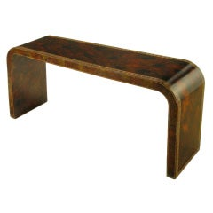 Signed Lacquered Waterfall Console Table With Greek Key Design