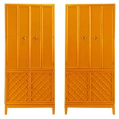 Pair Tall Tangerine Lacquer Two-Piece Cabinets
