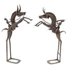 Pair Bronze African Dogon Equestrian Warrior Sculptures