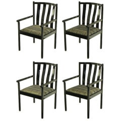 Set Four Stendig Black Lacquered Italian Slat Back Arm Chairs.