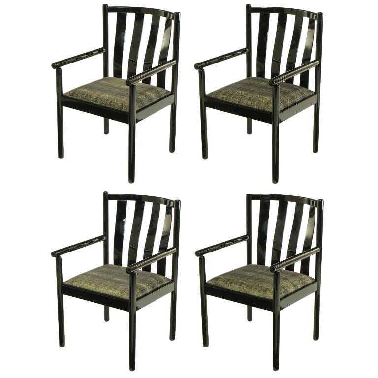 Slat Back Chairs set four stendig black lacquered italian slat back arm chairs. for