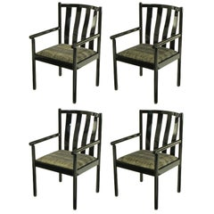 Set Four Stendig Black Lacquered Italian Slat Back Armchairs