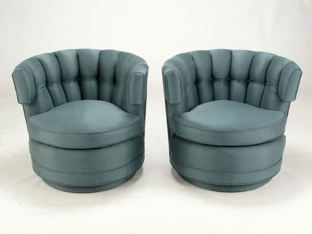 Pair Cadet Blue Button Tufted Swiveling Barrel Chairs At