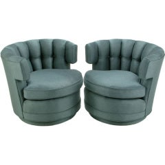 Pair Cadet Blue Button-Tufted Swiveling Barrel Chairs