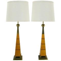 Pair Stiffel Walnut & Brass Obelisk Table Lamps