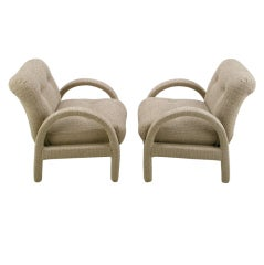 Pair Milo Baughman Fully Upholstered Club Chairs
