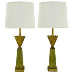 Pair Stiffel Brass Crown & Sage Lacquer Obelisk Table Lamps