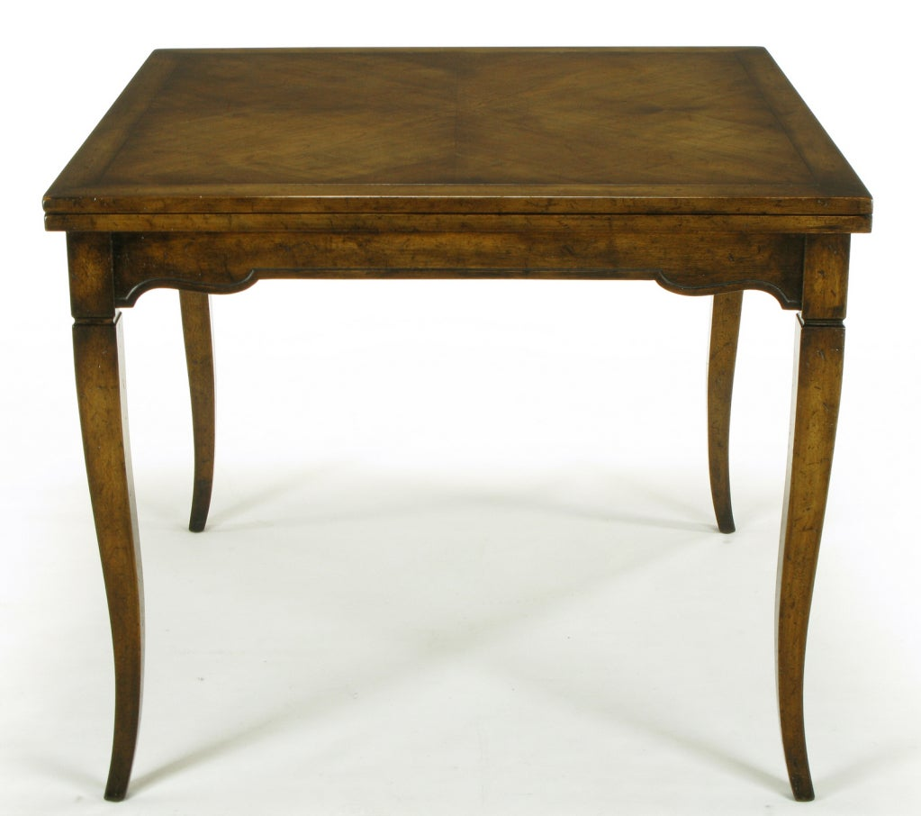 Mid 20th Century Old Colony Furniture Walnut Flip Top Games Table For Sale