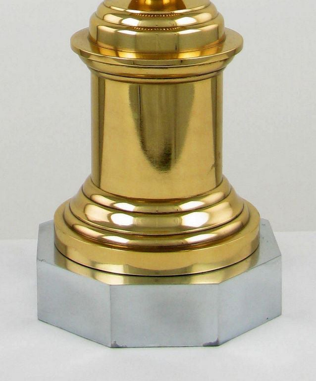 American John Dickinson Style Brass, Steel and Milk Glass Lamp For Sale