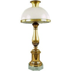 John Dickinson Style Brass, Steel & Milk Glass Lamp