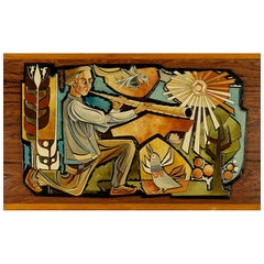 Finnish Polychrome Carved Wood Relief