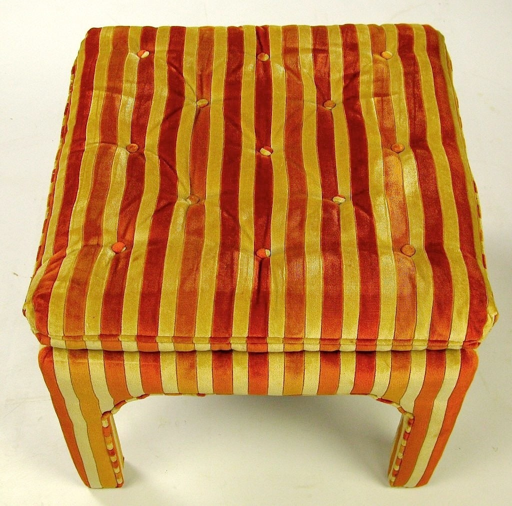 American Pair Button-Tufted Striped Velvet Stools For Sale