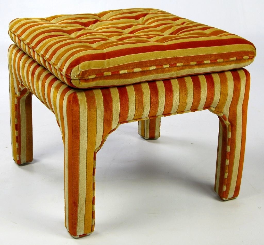 Mid-20th Century Pair Button-Tufted Striped Velvet Stools For Sale