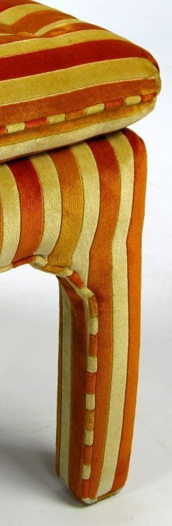 Pair Button-Tufted Striped Velvet Stools For Sale 1
