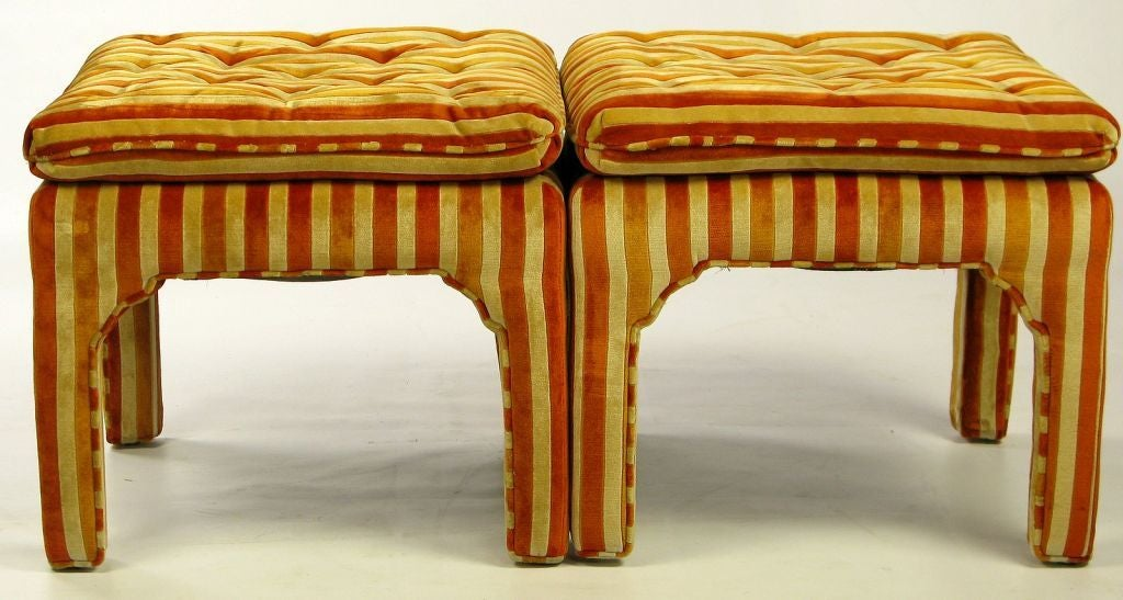 Pair Button-Tufted Striped Velvet Stools For Sale 2