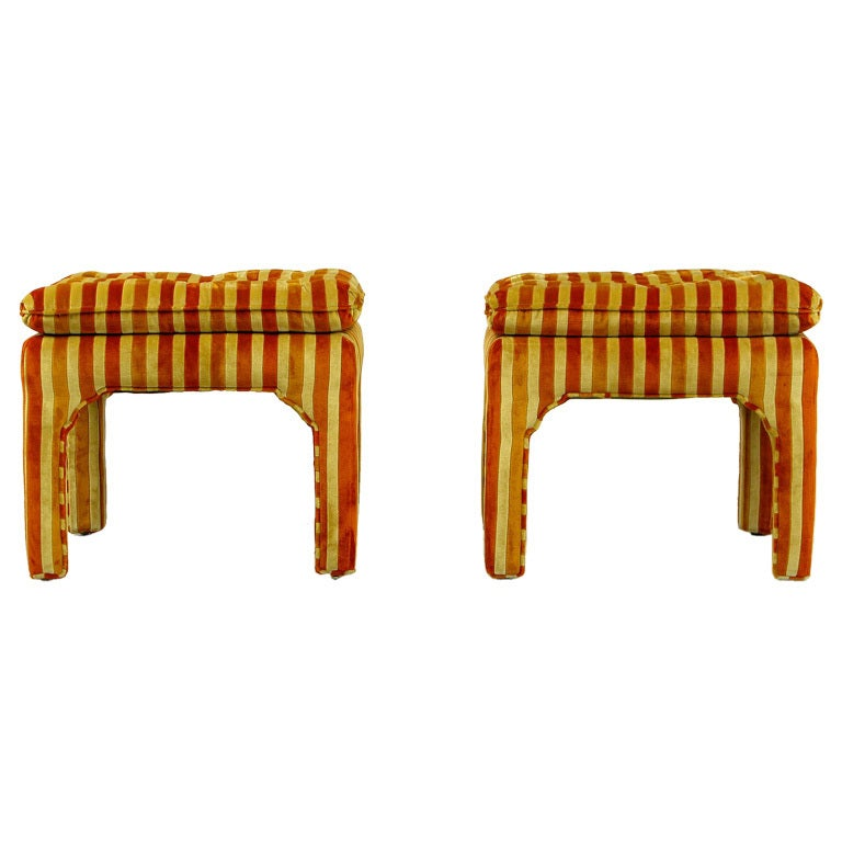 Pair Button-Tufted Striped Velvet Stools For Sale