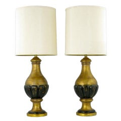 Pair Marbro Gilt Wood & Gesso Neoclassical Table Lamps