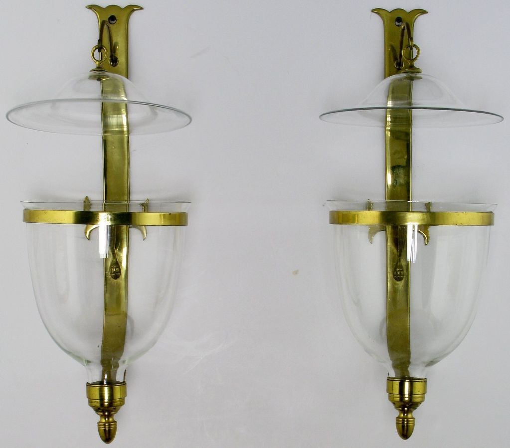 Blown Glass Wall Sconces Lighting : Pair Of Large Hand Blown Glass Hurricane Sconces By Sarreid at 1stdibs