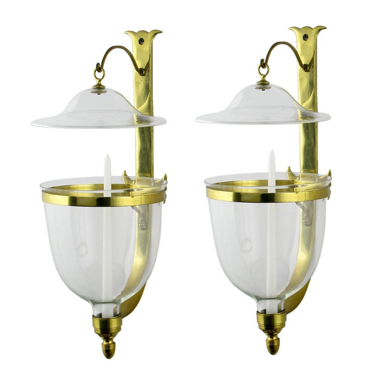 Wall Sconces Blown Glass : Pair Of Large Hand Blown Glass Hurricane Sconces By Sarreid at 1stdibs