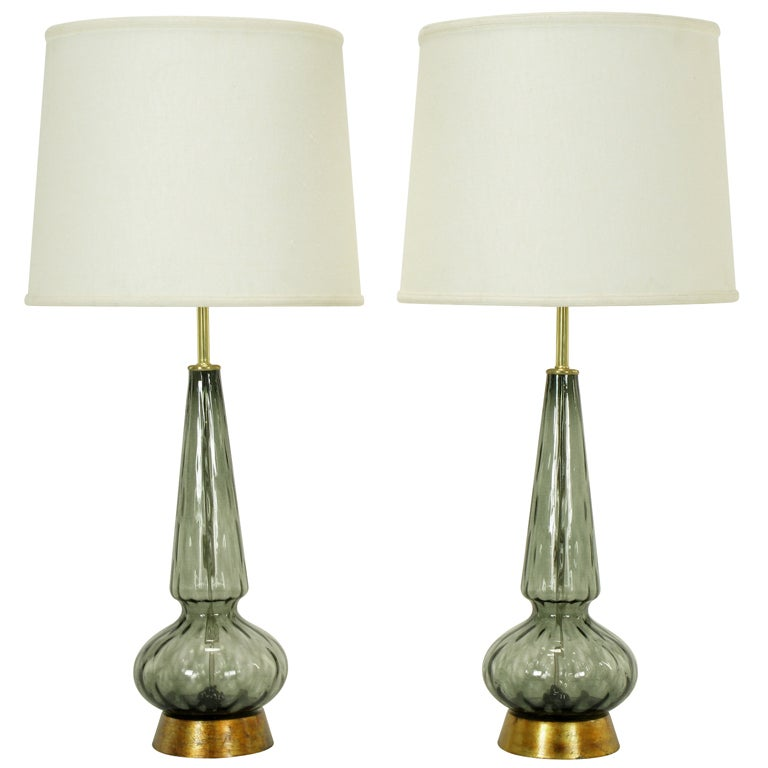 pair hand blown smoked spiral murano glass table lamps at 1stdibs. Black Bedroom Furniture Sets. Home Design Ideas