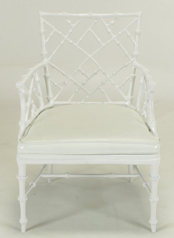 American Six Phyllis Morris White Chinese Chippendale Dining Chairs For Sale