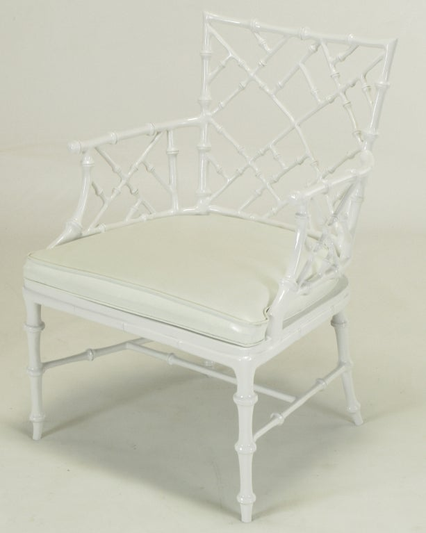 Late 20th Century Six Phyllis Morris White Chinese Chippendale Dining Chairs For Sale