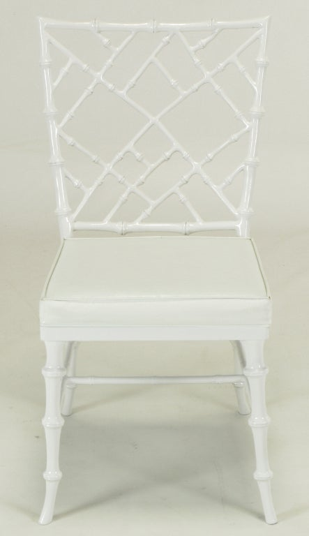 Aluminum Six Phyllis Morris White Chinese Chippendale Dining Chairs For Sale