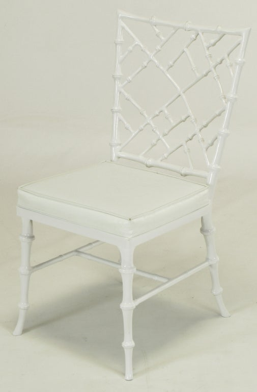 Six Phyllis Morris White Chinese Chippendale Dining Chairs For Sale 1