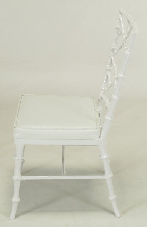 Six Phyllis Morris White Chinese Chippendale Dining Chairs For Sale 2