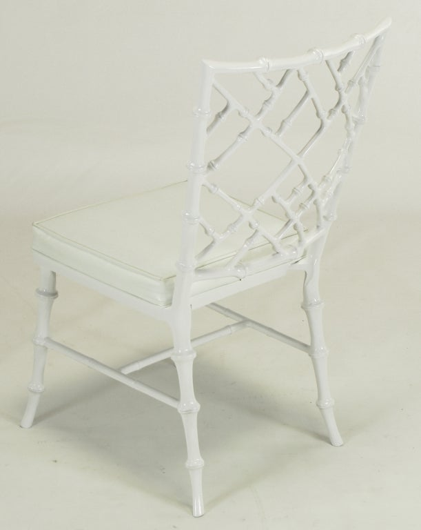 Six Phyllis Morris White Chinese Chippendale Dining Chairs For Sale 3