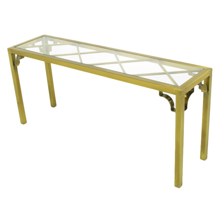 Mastercraft Brass Chinese Chippendale Console Table
