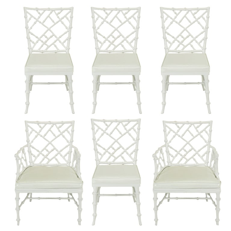 Six Phyllis Morris White Chinese Chippendale Dining Chairs For Sale