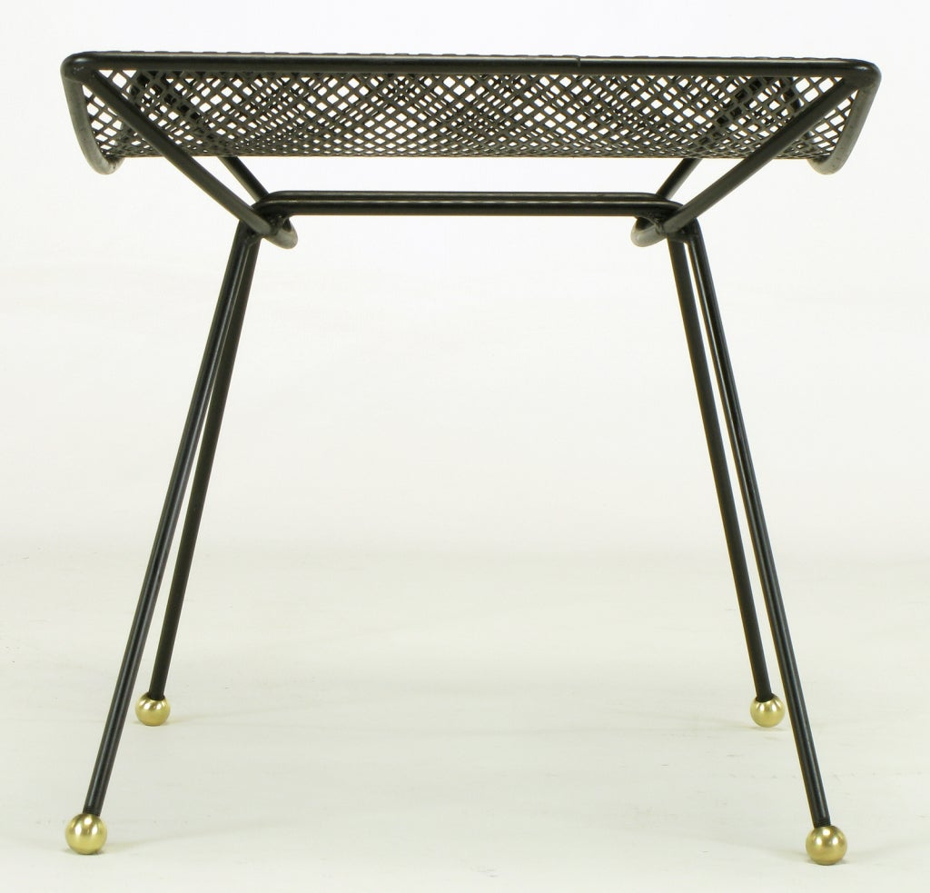 Salterini Black Wrought Iron And Brass Ball Curved Seat Bench At 1stdibs