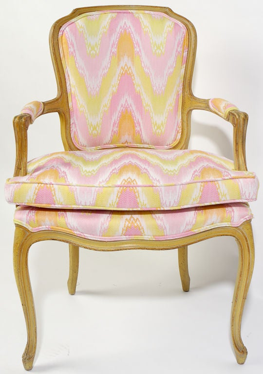 French Pair 1940s Louis XV Style Flame Stitch Upholstered Fauteuils For Sale