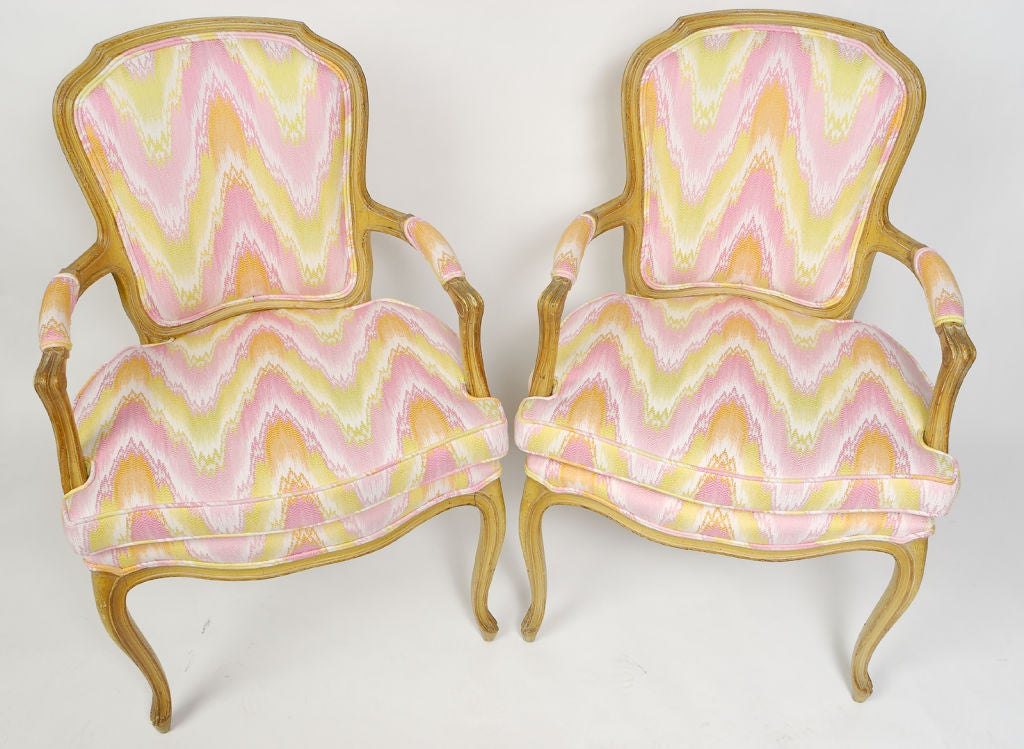Mid-20th Century Pair 1940s Louis XV Style Flame Stitch Upholstered Fauteuils For Sale