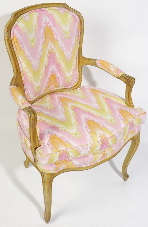 Wood Pair 1940s Louis XV Style Flame Stitch Upholstered Fauteuils For Sale