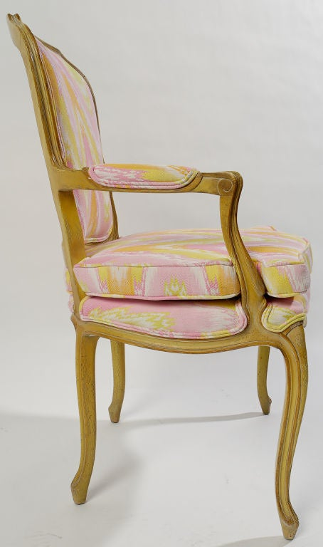 Pair 1940s Louis XV Style Flame Stitch Upholstered Fauteuils For Sale 1