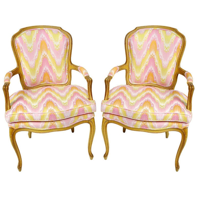 Pair 1940s Louis XV Style Flame Stitch Upholstered Fauteuils For Sale