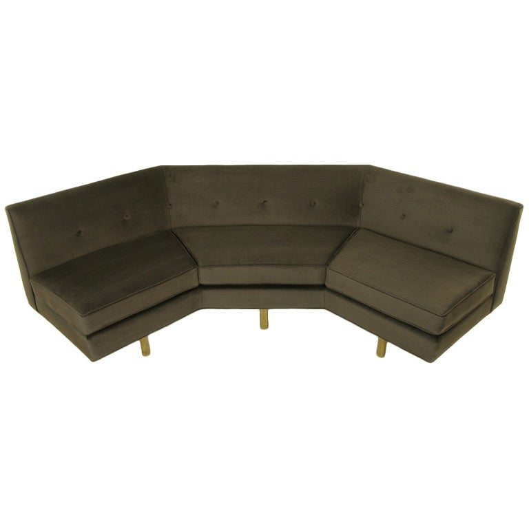 Good Edward Wormley For Dunbar Chocolate Velvet Angled Sofa 1