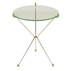 French Directoire Style Polished Bent Brass Rod Tripod Table.