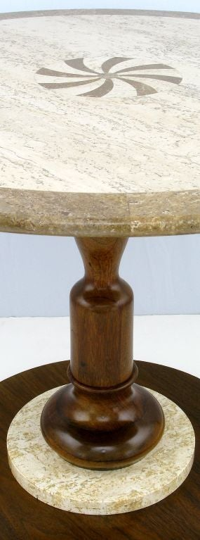 American Walnut and Travertine Side Table with Marquetry Center For Sale