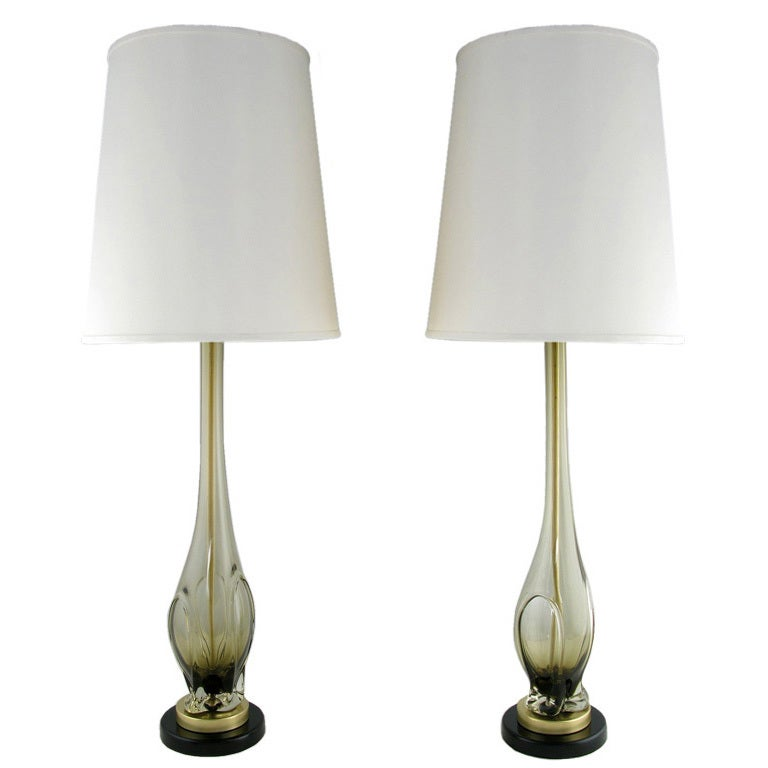 Pair Tall Murano Hand Blown Smoked Glass Table Lamps at ...