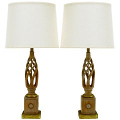 Pair Frederick Cooper Carved & Limed Barley Twist Table Lamps