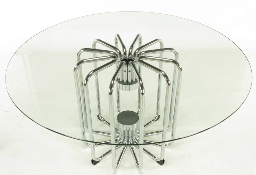 American Melon Form Chrome and Glass Dining Table For Sale