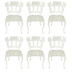 Six Molla Cabriole Leg Aluminum Dining Chairs