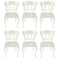 Six Molla Cabriole Leg Aluminum Dining Chairs