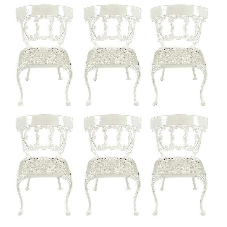 Six Molla Cabriole Leg Aluminum Dining Chairs For Sale
