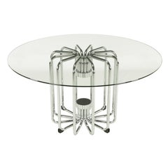 Melon Form Chrome and Glass Dining Table