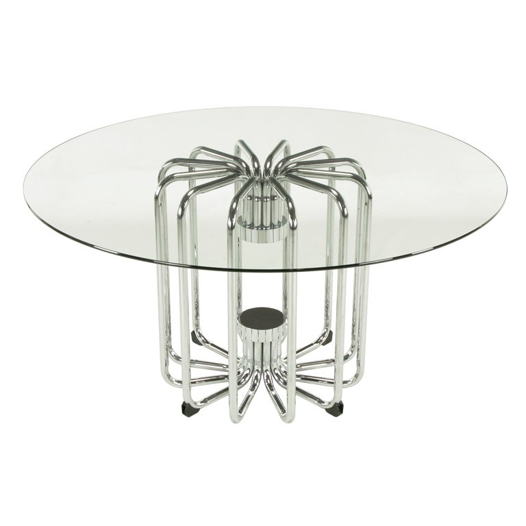 Melon Form Chrome and Glass Dining Table For Sale